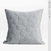 Pillow Case MISS LAPIN Rhombus Quilted Designer Throw Interior Design Decorative Grey Cushion Cover 60x60cm