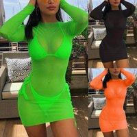 Casual Dresses Women Sarong Bathing Suit Swimwear Beach Mini Dress Sexy Mesh Sheer See Through Bikini Cover Up Swimming Suits Cover-ups #YJ
