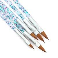 Nail Art Kits 5pcs Brush Acrylic Kit Liquid Powder Painting Crystal Handle UV Gel Drawing Pen Professional Manicure Tool
