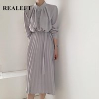 Casual Dresses REALEFT 2021 Elegant Pleated Women's Shirts Dress Sashes Long Sleeve Single Breasted Loose High Waist Chic
