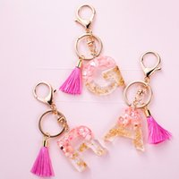 Cute Creative Letter Alphabet Crystal Acrylic Liquid Keychain Women Key Chains Ring Car Bag Tassels Pendent Charm Gift Accessory