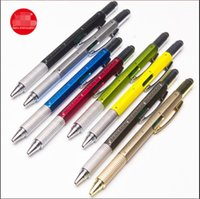 Multifunctional screwdriver ball point pen level instrument advertising capacitance touch screen metal scale gift tool pens