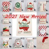 Nouveau 2021 Sacs de Noël Santa Santa Santa Sacs Coton Grands Sacs-cadeaux de cordon de serrage lourd Personnalisée Décoration de Noël Festival Personnalisée