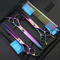 JOEWELL 8.0 inch rainbow hair cutting thinning scissors kit with leather case professional pet hair-beauty shear set