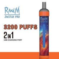 RANDM Switch Pro Puff Bars Одноразовые Vape 2 в 1 Сигареты 3200 Хиты + Аккумуляторная Комплект устройства 10 мл Pods 1100 мАч Батарея USB Зарядная порт с RGB Light VS R и M