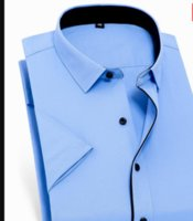 Fat Guy Plus Size 9XL 10XL 12XL 14XL Pure Color Formal Casual Easy-care Short Sleeve Men Shirt Blue Yello LZ1943