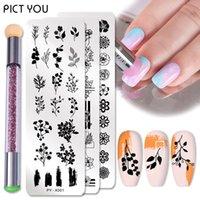2Pcs Nail Stamping Plates Set Silicone Sponge Brush Polish Transfer Stencils Flower Geometry DIY Template for Nail Tool