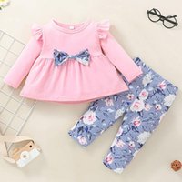 Clothing Sets 2021 Lovely Kid Baby Girls Clothes Bow Loose T-shirt Tops+floral Pants Outfits Set Autumn And Winter Girl