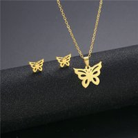Stainless Steel Butterfly Jewellery Sets For Women Girls Necklaces Earrings Set Wedding Accessories Party Gifts