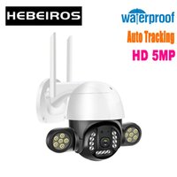 Cameras Hebeiros HD 5MP Auto Human Tracking IP66 Waterproof Outdoor LED Floodlight 1080P Color Vision Security CCTV IP PTZ Wifi Camera