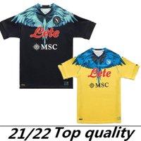 Marcelo Burlon Top Thai 2021 2022 Napoli Jerseys de fútbol Maradona Maglietta da Calciatore Osimhen Insigne 20 21 22 SSC Nápoles Kits Maglia Mertens Football Shirt