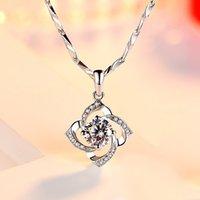 Nehzy 925 Sterling Silver Ny Kvinna Mode Smycken Högkvalitativ Crystal Zircon Flower Clover Hängsmycke Halsband Längd 45cm 505 B3