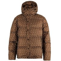Designer men's and women's bread bright printed brown down jacket winter white duck downs hooded collar thickened warmth short student jackets couple style