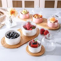 Ceramic Fruits Salad Bowl Dessert Snack Plate With Bamboo Wooden Tray Glass Cover Ice Cream Pudding Cup Kitchen Tableware Bowls