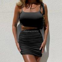عارية midriff المحاصيل الأعلى زلة اللباس البسيطة bodycon الورك حزب اللباس مثير الصيف المرأة ruched فساتين أزياء الملابس الأسود