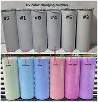 Estoque de cor UV mudando tumbler 20oz sublimação tumbler luz de sol sensivel de aço inoxidável de aço inoxidável tumbler magro com tampa e canudos