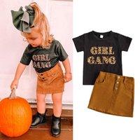 Clothing Sets 2-7Y Summer Fashion Kids Girls Clothes Leopard Letter Print Short Sleeve T Shirts A-Line Pocket Skirt