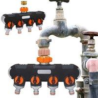 Vattenutrustning 4-vägs Slang Splitter Ventil Garden Caucet Water Distributör Distribution Controller för utomhus Knappkontakt