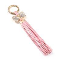 BOWKNOT الجلود شرابة سلسلة المفاتيح مفتاح سلسلة حامل حقيبة سحر قلادة الاكسسوارات حلية keyfob كيرينغ هدية المرأة مجوهرات