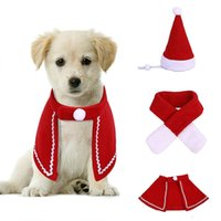 Dog Apparel Pet Cat Christmas Plush Santa Hat Cloak Scarf Pets Xmas Kitten Puppy Caps Collar Velvet Clothing Clothes Cosplay Costume