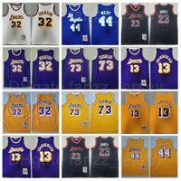 Männer Basketball Vintage Jerry West Mitchell Ness Jersey 44 Lebron James 23 Johnson 32 Dennis Rodman 73 Wilt Chamberlain 13 Gelb Lila Weiß Schwarz Beige Retro Sport