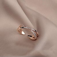 Cluster Rings Gothic Cross Shape Rose Gold Opening For Woman 2021 Korean Fashion Jewelry Party Girl's Sexy Temperament Ring