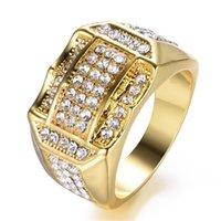 Bagues de grappes en diamant Hip Hop Diamond Bague de bande glacée en or pour femmes hommes MEN Moto Bijoux de mode et Sandy 2157 Q2