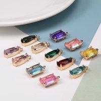 Neue bunte K9 Kristallwassertropfen Quadratische Anhänger für Schmuckherstellung DIY Ohrringe Halskette Mode Charms Schmuck Zubehör 230 W2