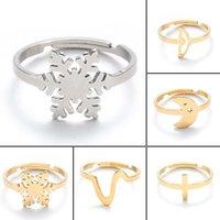 Koreanische Mädchen Edelstahl Schneeflocke Ring Einfacher Cross Moon Fish Tail Ring