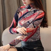 Plus Size Print Lace Blouse Womens Tops And Blouses Blusas Autumn High Collar Long Sleeve Shirt Women Fashion Woman Women's & Shirts