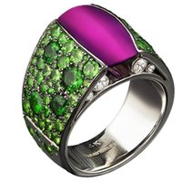 Cluster Rings Creative Fashion Inlaid Green Zircon 10 * 8 Wide Gorgeous Purple Round Ladies Ring To Attend The Ball Party Women's Gifts