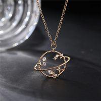 Collar de cadena del encanto de la luna del planeta de cristal elegante para las mujeres 2021 Moda de oro Rhinestone Star Cross Colgante Collares Joyería