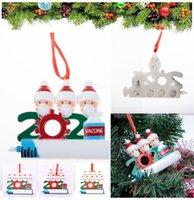 DHL Fast Christmas Decoration Party Favor Quarantäne Ornamente Harz Santa Claus mit Maske Dekorieren Weihnachtsbaum Hängende Anhänger CT18