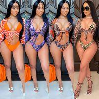 Nuevas mujeres Traje de baño Diseñador de cuello en V Sexy Bikini de malla Leopardo Tres puntos Sling de tres piezas Conjunto de manga larga Moda Sujetador Sujetador Sujetador Traje