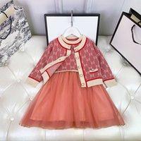 Vestido de chaleco para niños de lujo + Juego de chaquetas de suéter conjuntos para niños Di Imprimir Diseño Vestidos de manga larga Girls Princess Tamaño 100-160
