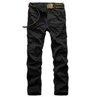 Мужские повседневные брюки грузовые брюки прямой тип твердого цвета плюс размер брюки с карманными модными брюками Homme