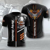 Herren Harley Motorrad 3D Digitaldruck Lose Rundhals-Kurzarm-T-Shirt