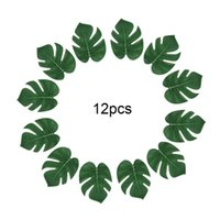 12pcs Artificial Monstera Plants Plastic Tropical Palm Tree Leaves Home Garden Party Decoration Accessories Pography Decor Decorative Flower
