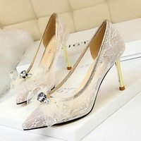 Sapatos de vestido BigTree Cristal Flor Lace Metal Salto Mulheres Bombas Moda Do Casamento Raso Ponto Ponto Tee Feminino Sexy High Saltos Party