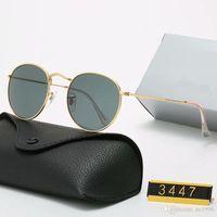 Diseñador Gafas de sol Ray Brand UV400 Eyewear Metal Marco de oro Gafas de sol Hombres Mujeres Mirms Modelo 3447 Lente de vidrio polaroid con caja