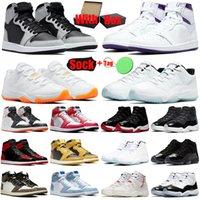 1s 11s erkek basketbol ayakkabıları 1 11 jumpman Shadow 2.0 Hyper Royal Bright Citrus Bred Patent UNC erkek kadın eğitmenler spor ayakkabı