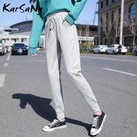 Pantalones para mujer Capris Karsany Harem Sweetpants Mujeres Pantalones de talla grande Casial de cintura alta gris suelto para negro