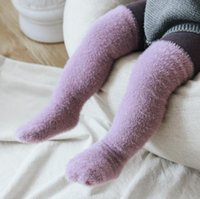 Детские носки сплошной цвет ребенка над колесом чулки зима зимний хорь загущение прямой доски Средняя трубка штабелированные носки KKB2792