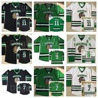 College North Dakota Kämpfe Sioux Jersey Eishockey 9 Jonathan Toews 11 Zach Parise 7 TJ Oshie Green Black White Team Farbe genäht
