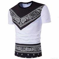 Magliette Bandana per uomini Estate Moda Bohemia Cotton Paisley T Shirt O-Neck Manica Corta Abbigliamento GRATIS SHIPP