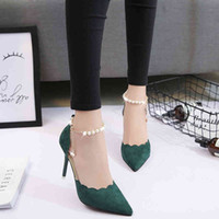 Women's high heels pointed black sexy stiletto single shoes spring and autumn new red women's shoes Y0406