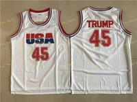 Mens 45 Donald Trump Filme Basquete Jersey EUA Dream Team Uma Moda 100% Costurado Basquete Camisas Branco Drop Ship