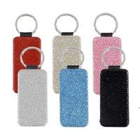6 Farben Wärmeübertragung Leder Keychain Shine Sublimation Leere Schlüsselanhänger Anhänger Gepäckdekoration Schlüsselanhänger DIY Geschenk FWA6121