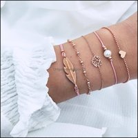 Link, Jewelrylink, Chain European And American Style Wind Braided Bracelet Pearl Love Leaf Set Charm Bracelets Jewelry Gifts Drop Delivery 2