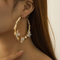 Girls Vintage Big Circle Butterfly Bamboo Hoop Guggie Earring For Women